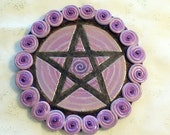 Purple Spiral Pentacle Altar Plaque