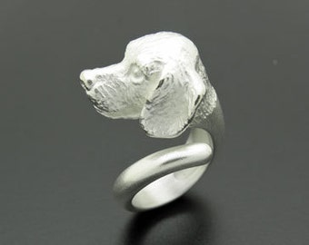 Big silver ring Beagle dog