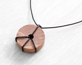 Hippie peace unisex wood and leather chord necklace