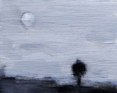 Original Landscape Acrylic Painting in Black and White with Tree and Moon - Small Art - Size 4x4 Artwork