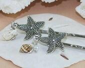 Beach Wedding Hair Accessories~Silver Starfish Hair Pins~Fashion Accessory~Sea Shells~Pearls