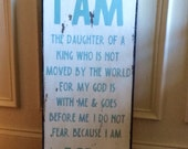 "Distressed hand-painted sign, 11x24 inch sign ""I Am"" great gift idea, home decor, birthday, baptism, graduation"