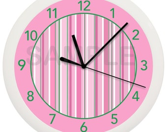 Pink Green and White Stripes 10 inch Wall Clock