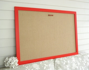 Modern Burlap BULLETIN BOARD - Red and Tan Magnetic Memo Board in Natural Burlap Fabric and 26.5 x 38.5 Handmade Hardwood Frame Office Decor