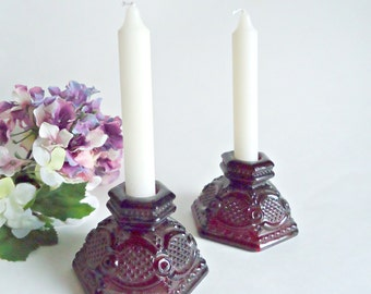Avon Candlesticks Cape Cod Ruby Red Candle Sticks