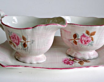 Old Foley Cream Sugar Tray Set Bone China Rose England