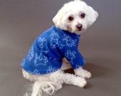 Dog Sweater, Blue Fleece with White Puppy Design