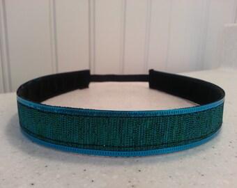 Non slip headband bluegreen glitter sparkle