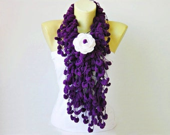 Mulberry scarf purple /Pompom scarf /cocoon scarf with removable  crochet brooch