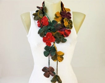 crochet flower necklace scarf  ,crochet lariat scarf
