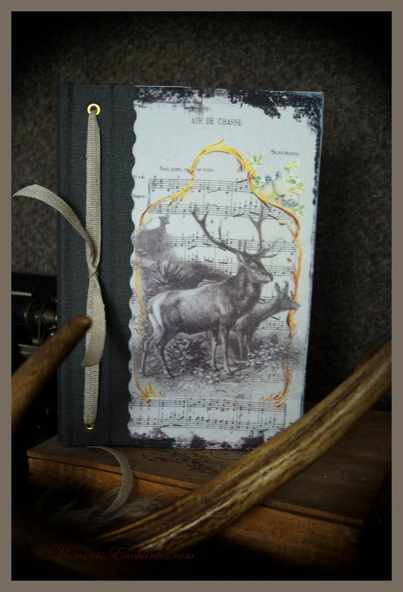 Hunting venery book very nice journal write in French  vintage pictures Deer hunting board