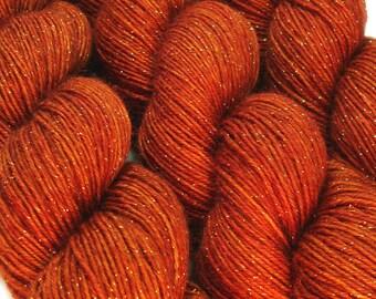 glitter sock yarn SINGLE MALT hand dyed sw merino nylon stellina fingering weight 3.5oz 435 yards