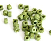 30 Green Greek Ceramic Tube Beads, Apple Green Spacer Beads, Ceramic Mini Tube 6x4mm C 10 196