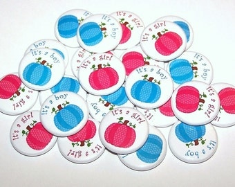 "Pumpkin Gender Reveal Party Halloween Set of 24 Buttons Baby Shower Favor 1"" or 1.5"" or 2.25"" Pin Back Button Pink Blue Fall Thanksgiving"