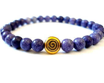 Crown Chakra Bracelet, Purple Howlite, Brass, Beaded Bracelet for Chakra Opening and Balance