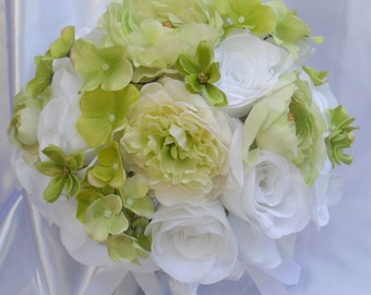 """17 Pieces Package Silk Flower Wedding Decoration Bridal Bouquet WHITE LIGHT GREEN """"Lily Of Angeles"""""""