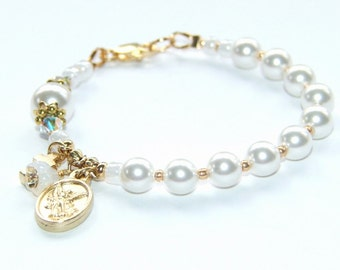 Catholic Girl's Rosary Bracelet in White Crystal Pearls with Gold, Wedding Jewelry