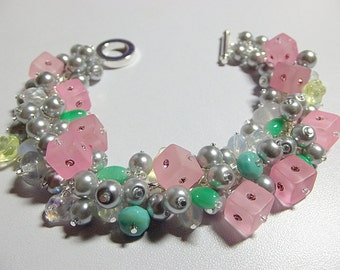 Silver Gray Pearl Pink Green Crystal Charm Bracelet, LAST One, Christmas Mom Sister Grandmother Bridesmaid Wife Birthdsy Jewelry Gift