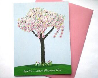 Buffalo Cherry Blossom Tree - Greeting Card