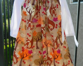 Adorable dress, girl, toddler, tween baby orange, trees, fall leaves, cherry, fox pillowcase dress 3m 6m 12m 18m 2t 3T 4T 5T 6 7 8 10 12