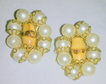 Vintage Pearl and Bamboo Cluster Earrings