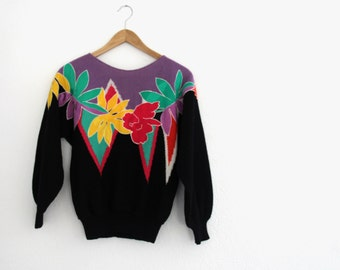 1980s Tropical Sweater UMI Black Bold Silk Flowers Knit Womens Vintage Medium