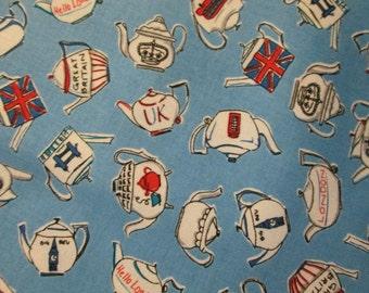 London Tea Blue Cotton Fabric Fat Quarter or Custom Listing