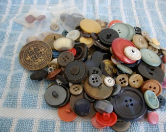 Vintage Buttons, Lot of about 160, Sewing Supplies, Crafting Supplies