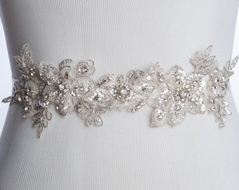 Kara beaded lace bridal sash,  lace wedding belt,  Bridal sash, wedding dress sash,