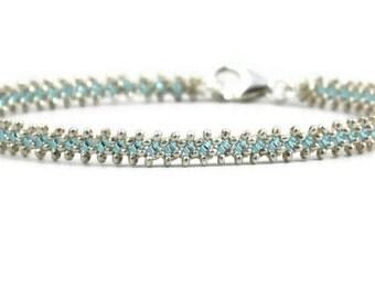 Silver Bracelet - Aquamarine Bracelet - Beaded Jewelry - Layering Bracelet - Bridesmaid Gift - Wedding Jewelry - Karen Hill Tribe Silver