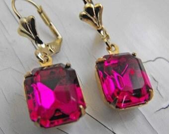 Fuchsia Earrings Vintage Swarovski Earrings Hot Pink Dangle Earrings Bridesmaid Jewelry Estate Style Earrings Bridal Jewelry, Candy Apple