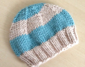 Newborn Baby Boy Hat, Preemie Baby Hat, Newborn Aqua and Cream Striped Beanie, Very soft, Photo Prop