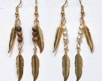 Gold Feather and Gemstone Earrings, jasper, agate, tigereye, turquoise, lapis, pietersite, garnet, malachite, pearl (large)