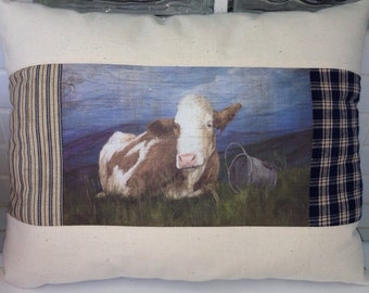 Heifer on the Hill quilted country cow pillow