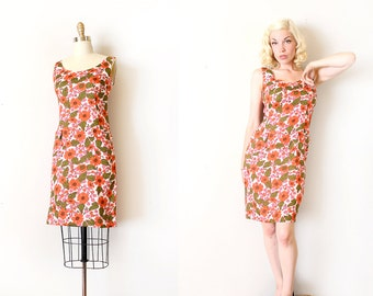 vintage 1960s Elizabeth Arden dress // 60s designer floral shift dress with rhinestones