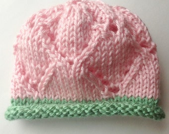 Knit Baby Hat, Pink Green, Beanie, Infant, Handmade