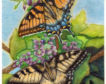 Yellow Butterflies with Flowers Art Print