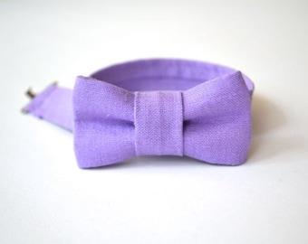 Infant Bow Tie in Lavender Linen- Newborn Bowtie