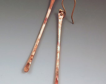 Copper with Colorful Patina Twig- Simple Elegant Earrings