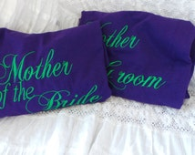 Mother Of The Bride & Groom Tee Shirts, Embroidered T-Shirts,  Peacock Themed Wedding
