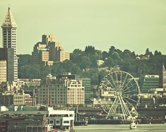 Seattle Washington Cityscape Great Wheel Elliott Bay Retro Photography Clock Tower