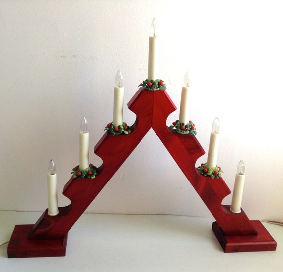Advent Electric Candle Holder Made In Sweden Wood 7 Christmas
