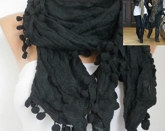 OOAK SCARF,Black Cotton Scarf, Winter Accessories, Shawl,Cowl Scarf, Gift Ideas For Her ,Women Fashion Accessories, best selling item