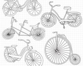 80% OFF SALE Bike Digital Stamps - Bicycle Digi Stamps Digital Scrapbooking Instant Download