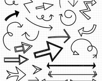 Doodle Arrow Clipart, Hand Drawn Clip Art, Commercial Use Instant Download