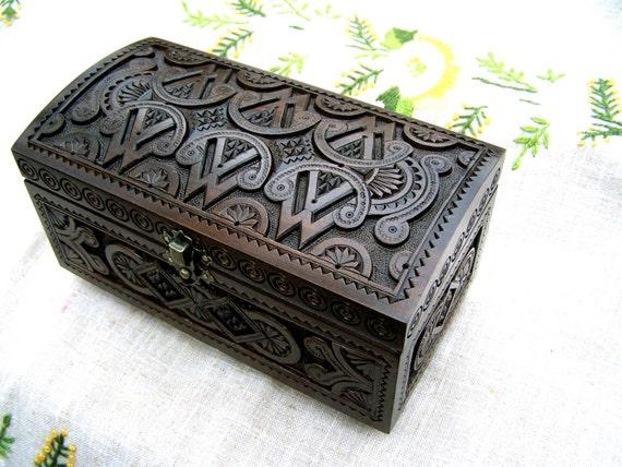 black jewelry box Wooden box Carved wood box Ring box Wedding ring holders Wood boxes Wooden boxes Wood carving Jewelry boxes Jewellery B34