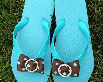 Aqua/Ocean Blue Flip Flops -100% Brazilian Rubber