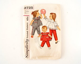 Vintage Simplicity Pattern 3725, Toddler's Pants and Top, Complete (Toddler Size 2) (c.1950s) - Collectible, Sewing