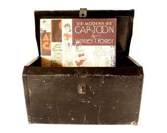 Vintage Metal Tool Box in Black (c.1950s) - Industrial Storage Box, Craft Organizer, Urban Home Decor