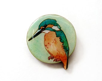 SALE Handmade Illustrated Kingfisher Brooch.  50% OFF!